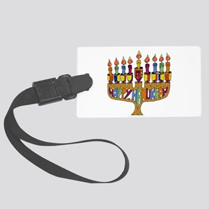 Happy Hanukkah Dreidel Menorah Luggage Tag