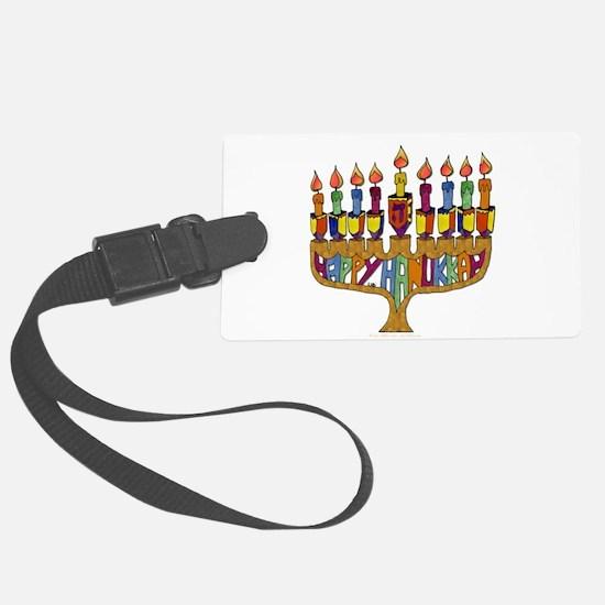 Happy Hanukkah Dreidel Menorah Luggage Tag