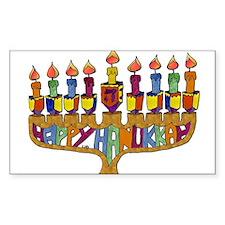 Happy Hanukkah Dreidel Menorah Sticker
