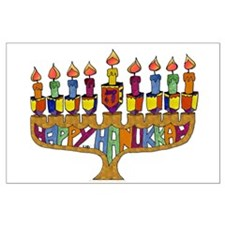 Happy Hanukkah Dreidel Menorah Posters