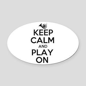 Keep Calm and Play On Horn Oval Car Magnet