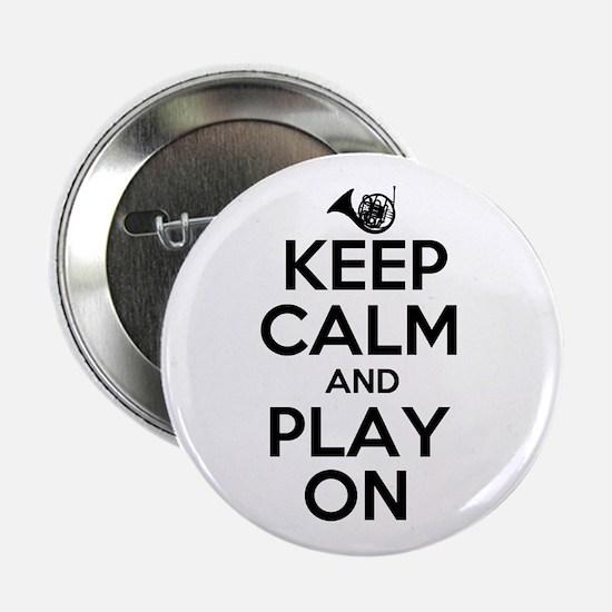 "Keep Calm and Play On Horn 2.25"" Button"