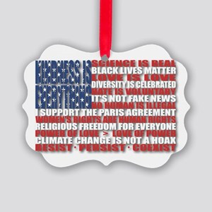 Political Protest American Flag Picture Ornament
