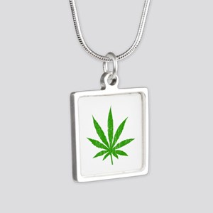 Marijuana Leaf Silver Square Necklace