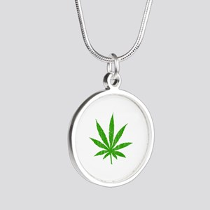 Marijuana Leaf Silver Round Necklace