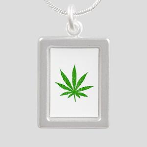 Marijuana Leaf Silver Portrait Necklace