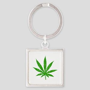 Marijuana Leaf Square Keychain