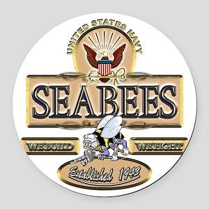 USN Seabees Est. 1942 Round Car Magnet