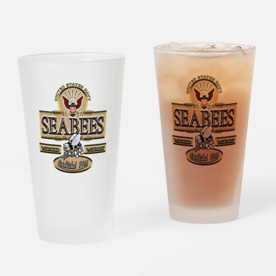 USN Seabees Est. 1942 Drinking Glass