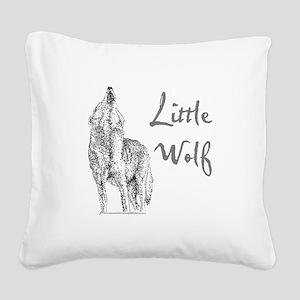 Little Wolf Square Canvas Pillow