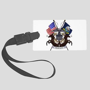 Navy Mustang Emblem Luggage Tag