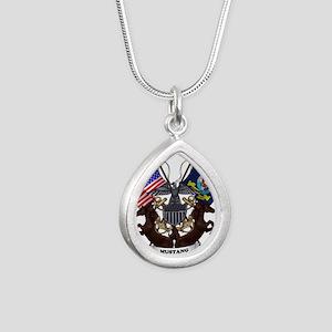 Navy Mustang Emblem Silver Teardrop Necklace