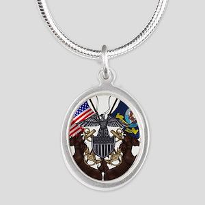 Navy Mustang Emblem Silver Oval Necklace