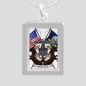 Navy Mustang Emblem Silver Portrait Necklace