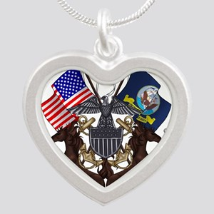 Navy Mustang Emblem Silver Heart Necklace