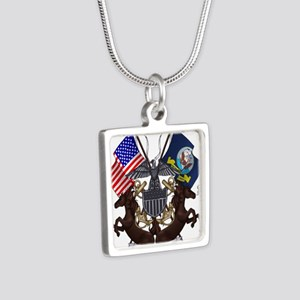 Navy Mustang Emblem Silver Square Necklace