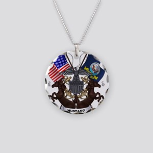 Navy Mustang Emblem Necklace
