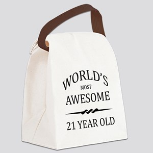 World's Most Awesome 21 Year Old Canvas Lunch Bag