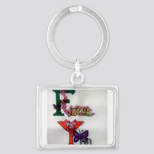 Cross Stitched Fuck You Design Landscape Keychain