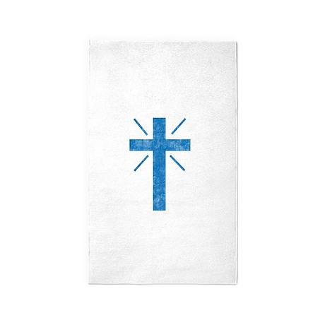 Pretty blue christian cross 1 U P 3'x5' Area Rug