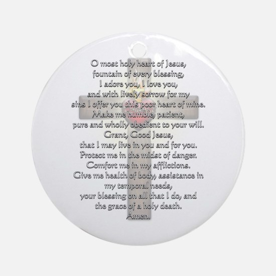 Sacred Heart of Jesus Cross Ornament (Round)
