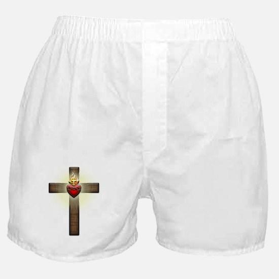 Sacred Heart of Jesus Cross Boxer Shorts