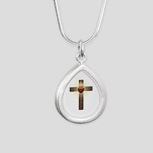 Sacred Heart of Jesus Cross Silver Teardrop Neckla