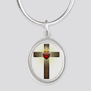 Sacred Heart of Jesus Cross Silver Oval Necklace