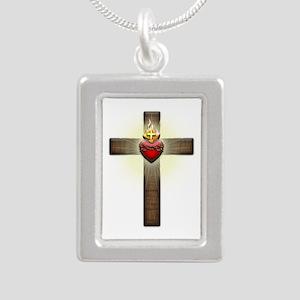 Sacred Heart of Jesus Cross Silver Portrait Neckla