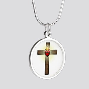 Sacred Heart of Jesus Cross Silver Round Necklace