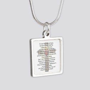 Sacred Heart of Jesus Cross Silver Square Necklace