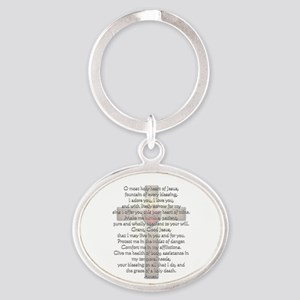 Sacred Heart of Jesus Cross Oval Keychain