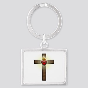 Sacred Heart of Jesus Cross Landscape Keychain