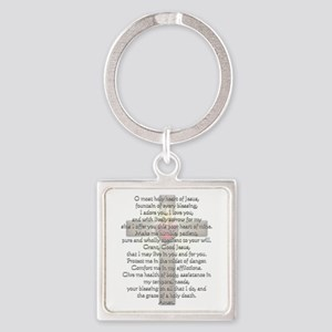 Sacred Heart of Jesus Cross Square Keychain