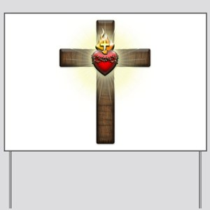 Sacred Heart of Jesus Cross Yard Sign