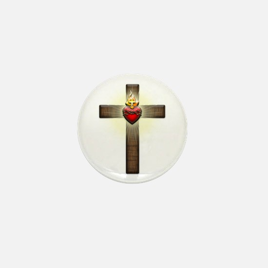 Sacred Heart of Jesus Cross Mini Button