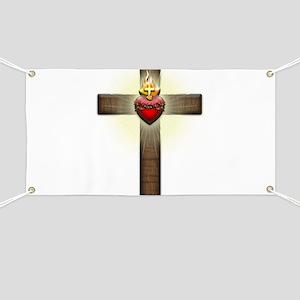 Sacred Heart of Jesus Cross Banner