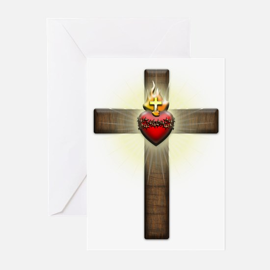 Sacred Heart of Jesus Cross Greeting Cards (Pk of