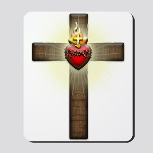 Sacred Heart of Jesus Cross Mousepad