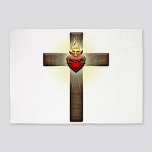 Sacred Heart of Jesus Cross 5'x7'Area Rug