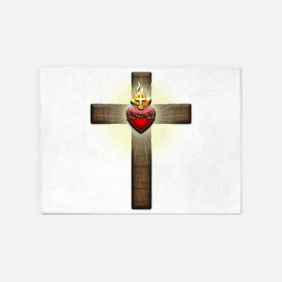 Sacred Heart of Jesus Cross 5'x7'Area Rug