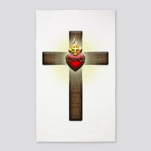Sacred Heart of Jesus Cross 3'x5' Area Rug