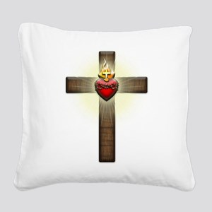 Sacred Heart of Jesus Cross Square Canvas Pillow