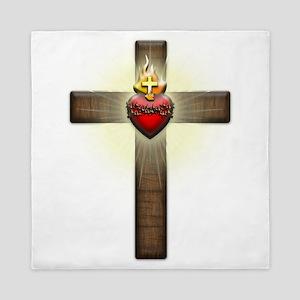Sacred Heart of Jesus Cross Queen Duvet