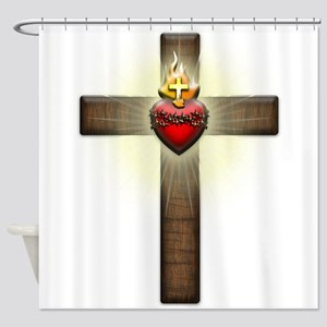 Sacred Heart of Jesus Cross Shower Curtain