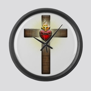 Sacred Heart of Jesus Cross Large Wall Clock