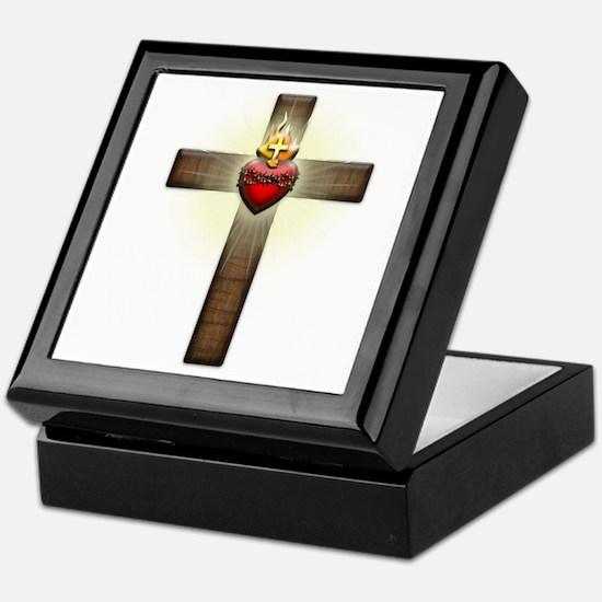 Sacred Heart of Jesus Cross Keepsake Box