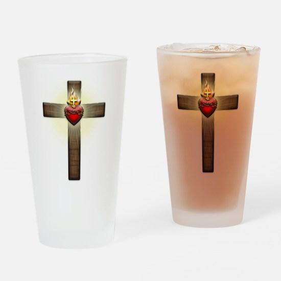 Sacred Heart of Jesus Cross Drinking Glass