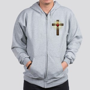 Sacred Heart of Jesus Cross Zip Hoodie