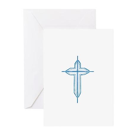 Pretty blue christian cross 2 U P Greeting Cards (